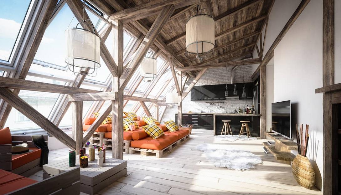 Дизайн спальні на мансарді