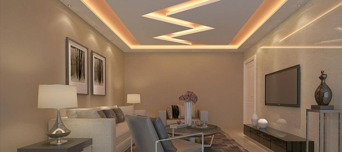 Дизайн стелі з гіпсокартону у вітальні