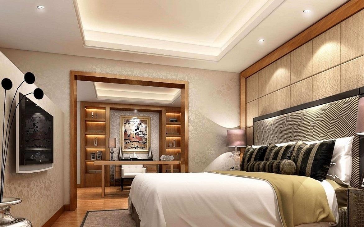 Дизайн стелі з гіпсокартону в спальні