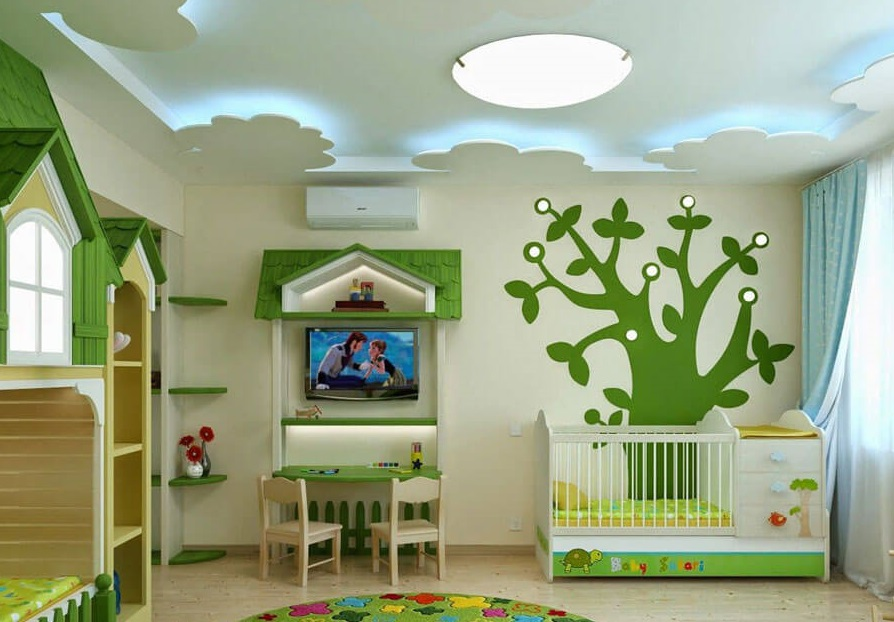 стелі з гіпсокартону в дитячій кімнаті